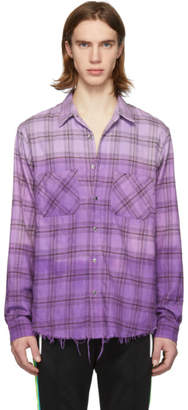 Amiri Purple Tie-Dye Plaid Loose-Fit Shirt
