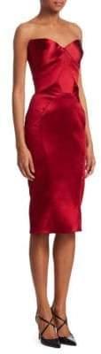 Zac Posen Women's Strapless Cocktail Sheath Dress - Burgundy - Size 8