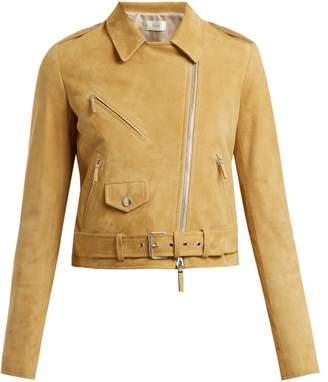 The Row Perlin Suede Biker Jacket - Womens - Beige