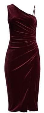 Black Halo Women's Aracely One-Shoulder Velvet Bodycon Dress - Smashing Burgundy - Size 0