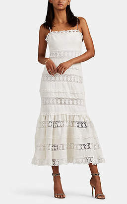Zimmermann Women's Wayfarer Crocheted-Inset Linen Strapless Dress - White
