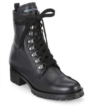 Prada Women's Leather Combat Boots - Black - Size 35 (5)