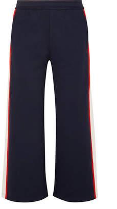 Tory Sport Cropped Striped Stretch-knit Track Pants - Navy