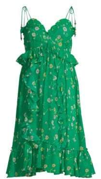 The Kooples Women's Silk Floral Shoulder Tie Dress - Green - Size 4 (XL)