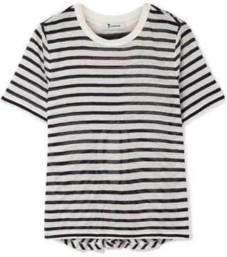 Alexander Wang Cutout Striped Slub Stretch-jersey T-shirt - Ivory