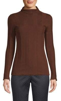 Peserico Women's Wool Ribbed Turtleneck - Rust - Size 38 (2)