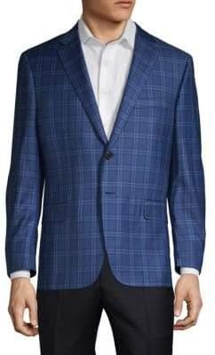Hickey Freeman Single-Breasted Plaid Wool Suit Jacket