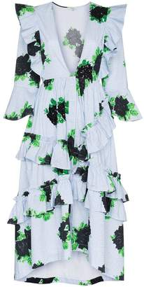 Ganni pine gingham ruffle dress