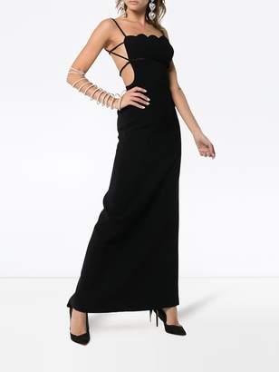 Miu Miu scalloped edge ruched strap gown