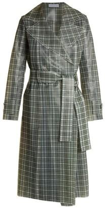 Wanda Nylon - Tie Waist Coated Tartan Trench Coat - Womens - Brown Multi