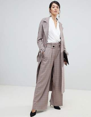 Closet London high waist wide leg PANTS in check