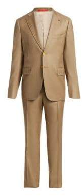 Isaia Men's Cortina Flap Wool Suit - Beige - Size 54 (44) R