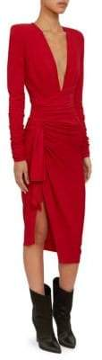 Alexandre Vauthier Women's Stretch Jersey V-Neck Cocktail Dress - Red - Size 44 (12)