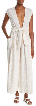 Mara Hoffman Whitney Plunging Cap-Sleeve Wide-Leg Seersucker Check Jumpsuit, White