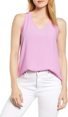Gibson x Hi Sugarplum! Carmel High/Low V-Neck Top