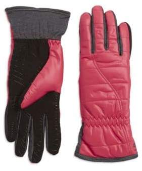 Faux Fur-Lined Quilted Gloves