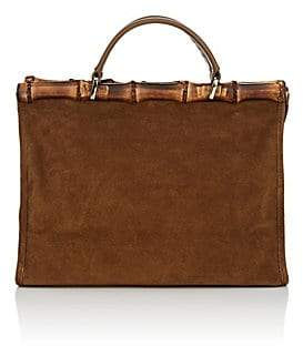 Barneys New York Women's Bamboo-Trimmed Suede Tote Bag - Brown