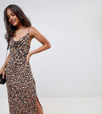 Asos Tall DESIGN Tall cowl front midi slip dress in leopard print