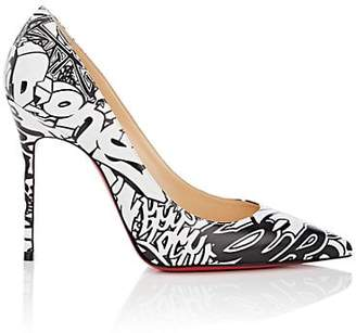 Christian Louboutin Women's Décolleté Graffiti-Print Leather Pumps - Black