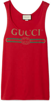 Gucci Printed Cotton-jersey Tank - Red