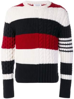 Thom Browne Rugby Stripe Fun-Mixed Cable Fine Merino Crewneck Pullover