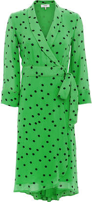 Ganni Green Polka Dot Wrap Dress