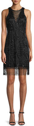 Aidan Mattox Sleeveless Little Black Cocktail Dress w/ Beading & Fringe