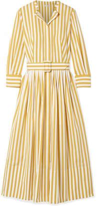 Oscar de la Renta Striped Cotton-poplin Midi Dress - Saffron