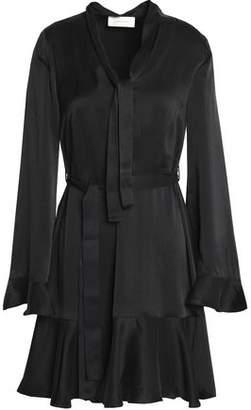 Zimmermann Pussy-Bow Ruffle-Trimmed Washed-Silk Mini Dress