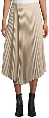 Vince Draped Pleated Midi Skirt