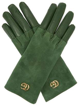 Gucci Gg Plaque Suede And Leather Gloves - Womens - Green