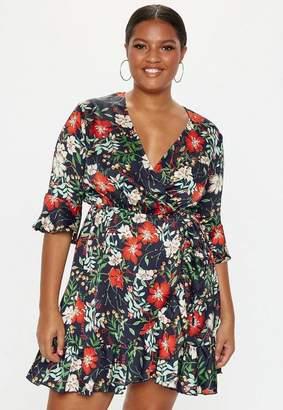 Missguided Plus Size Black Wrap Floral Dress