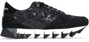 Dolce & Gabbana Capri Glittered Suede Mesh And Patent-Leather Sneakers