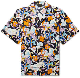 Prada Camp-Collar Printed Matte-Satin Shirt