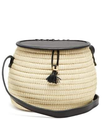 Sensi Studio - Leather And Toquilla Straw Basket Bag - Womens - Black Multi