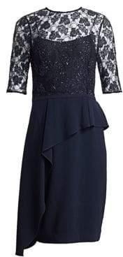 Teri Jon by Rickie Freeman by Rickie Freeman Women's Embellished Asymmetrical Peplum Dress - Navy - Size 4