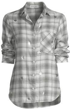 Bella Dahl Women's Plaid Button-Down Shirt - Black White - Size XS