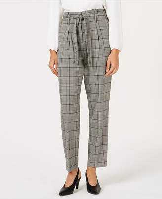 Bar III Self-Tie Plaid Pants