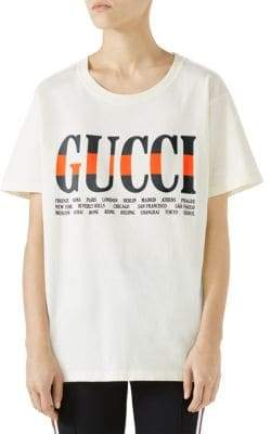 Gucci Women's Jersey Logo Tee - White - Size Large
