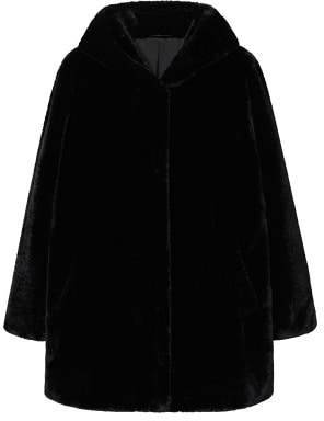 Violeta BY MANGO Hooded faux-fur coat