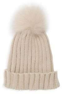 Adrienne Landau Dyed Fox Fur Pom Pom Hat
