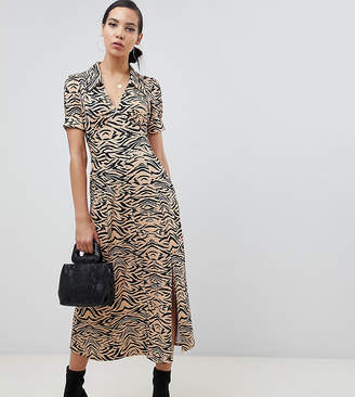Asos Tall DESIGN Tall animal print midi tea dress in rib