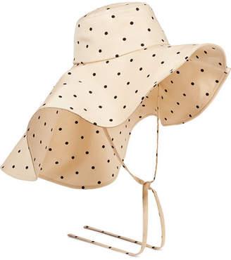 BEIGE REJINA PYO - Daisy Polka-dot Satin-jersey Hat