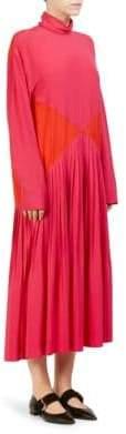Cédric Charlier Women's Diamond Block Pleated Dress - Pink - Size 40 (6)