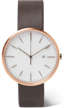 Uniform Wares M40 Precidrive Rose Gold-Tone And Leather Watch