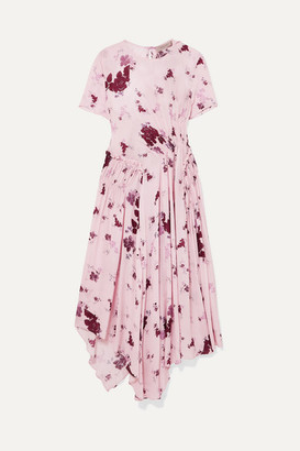 Preen Line Lois Asymmetric Shirred Floral-print Georgette Midi Dress - Pastel pink