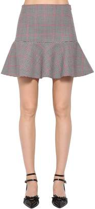 RED Valentino Ruffled Cotton Blend Houndstooth Skirt