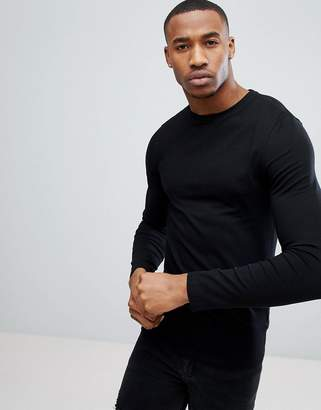 Asos Design DESIGN muscle fit long sleeve t-shirt with crew neck in black