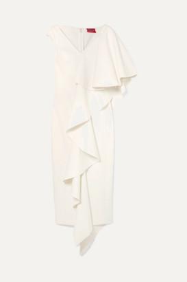 SOLACE London Alora Asymmetric Ruffled Stretch-cady Midi Dress - Cream
