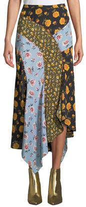 Veronica Beard Mac Floral Silk Handkerchief Midi Skirt